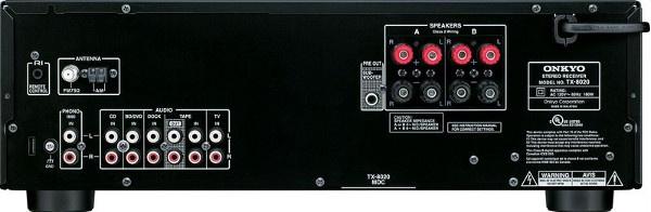 Стерео-ресивер Onkyo TX-8020, задняя панель