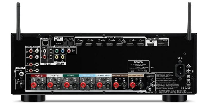 Denon AVR-X2100W, задняя панель